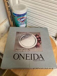 "2 Silver Oneida Maybrook 12"" Round Tray. New. Sealed in Original Box Made USA"