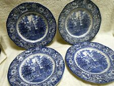 4 Staffordshire England Liberty Blue Dinner Plate Independence Hall