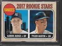 AARON JUDGE/TYLER AUSTIN ROOKIE STARS YANKEES #214 2017 TOPPS HERITAGE NICE!!!