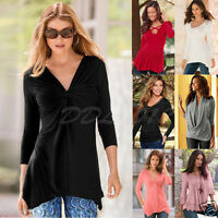 Fashion Women Ladies Long Sleeve Shirt Casual Blouse Loose Cotton Tops T Shirt