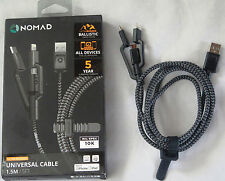 Nomad 5' UNIVERSAL Cable USB Type A-to-Micro USB, Lightning, USB Type C Device