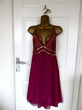 """GORGEOUS CERISE CHIFFON  OCCASION DRESS BY GEORGE UK-14 BUST 38"""" LENGTH 37"""""""