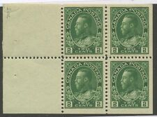 Canada 1922 KGV Admiral 2c yellow green Booklet Pane of 4 #107b VF MNH