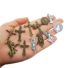24 pcs Assorted Mix Vintage Metal Rosary Cross Jesus Virgin Mary Pendant Charm