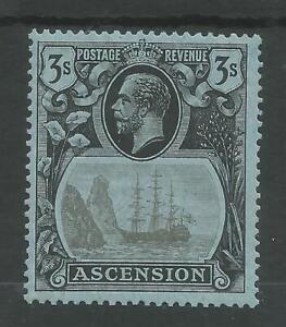 ASCENSION SG20 THE 1920-4 GV 3/- GREY-BLACK&BLACK/blue THE TOP VAL MNH CAT £100+