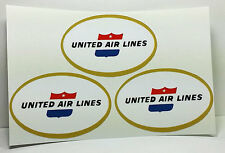 """2"""" x 3"""" United Air Lines Vintage Style Travel Decal, Vinyl Sticker (Sheet of 3)"""