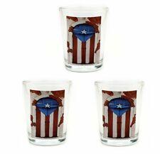 Lot of 3 Shot Glass With Puerto Rico Door Flag Crystal SOUVENIR Rican Boricua
