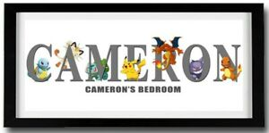 POKEMON Personalised Name Print Art - High Quality Frame Included Pikachu