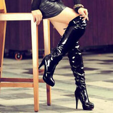 Sexy Stiletto High Heels Over The Knee Women Boots Patent Leather Party Shoes US