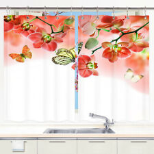 Butterfly Kitchen Window Curtain Sets, Floral Window Treatment 2 Panels 55x39''