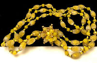 """Rare Vintage 16"""" Signed Miriam Haskell Goldtone Yellow Art Glass Bead Necklace 6"""