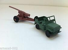 Ancien jouet en plastique - Jeep Willys militaire + canon