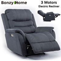 Power Recliner Chair Vevelt Fabric Padded Armrest Seat Heavy Duty Sofa 3 Motors