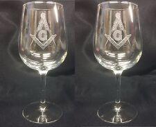 Masonic 12.25 oz. wine glasses (Set of 2) Great gift for any Mason