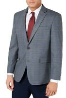 Tommy Hilfiger Men Sport Coat Gray Blue Size 42 Plaid Two-Button Blazer $295 046