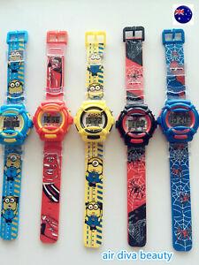 Boy Kid Children Batman OR Spiderman Digital rubber Band Wrist Watch gift him