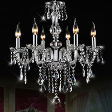 6 Lights Arms Candle Glass&Crystal Chandelier Pendant Lamp Living Room Bedroom