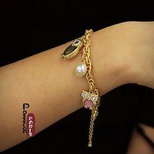 Bracelet Chams Hibou Perle Feuille Noisette Original Soirée Mariage Cadeau CT2
