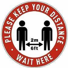 5-Pack Social Distancing Floor Decals -Safety Floor Sign Marker -Keep 6ft/2M Foo