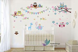 Cherry Tree floral Owls Blue elephant giraffe wall nursery Baby Decal sticker