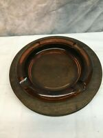 """Vintage Mid-Century Amber 8"""" Thick Glass ASHTRAY With Oak Wood Base Wood Crafts"""