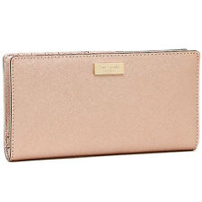 NWT Kate Spade Newbury Lane Stacy Anthracite Saffiano Wallet Rose Gold WLRU 1601
