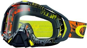 Oakley Men's Mayhem Pro Podium Check MX Motocross Goggles - Orange/Clear Lens