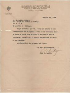 1949 BANTUG Letter to Felipe Hidaldo UST Museum Philippines C/Stamped GOLD Coin