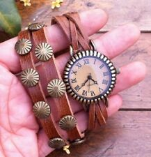 NEW Leather Hemp Wrap Quartz Watch Bracelet Wristband Vintage Cuff Brown Tribal