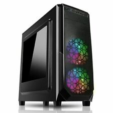More details for cit prism midi tower atx gaming computer case 120mm rgb led fans usb 3.0 black