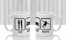 Eat Sleep Skate ceramic Mug. Ideal gift for Skateboarder. Skateboard image
