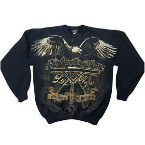 Harley Davidson Cafe Las Vegas Double Sided Sweatshirt Medium Black Long Sleeve