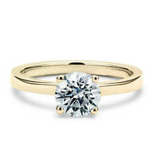 14K Yellow Gold 1 Carat Round Cut Moissanite Classic Solitaire Engagement Ring