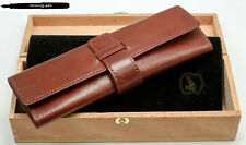 Governor Leather Etui / Case for 2 Pens in Brown with wood box
