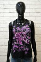 RICHMOND Donna Taglia 42 Canottiera Nera Blusa Maglia Camicia Shirt Women
