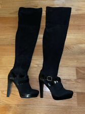 """Jennifer Lopez """"Lucille"""" Suede Over The Knee Black Boots Size 6 1/2 M"""