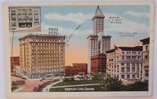 Seattle Civic Center, Frye Hotel, Smith Building 1962 Postcard / Stamp C40