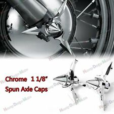 """CH Spun Blade Spinning Axle Caps For Harley 1 1/8"""" Touring Sportster 08-Later"""