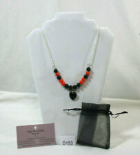 BEAUTIFUL HANDMADE BLACK/ORANGE BEADED NECKLACE WITH HEART PENDANT & ORGANZA BAG