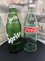 Vintage LOT X2 RARE 1970s Sprite & Coca Cola 1 Liter 33.8oz Glass Bottles Coke