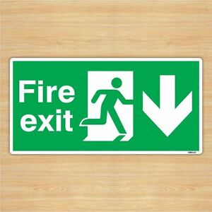 British Standard Fire Exit DirectionSign Safety Sticker 300x150mm