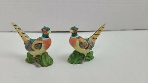 """2 Vintage Lefton Pheasants Figurine Bisque Porcelain 2"""" Small Miniature S2"""