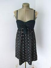BCBG MAX AZRIA black 100% silk satin babydoll sun dress puff skirt eyelet dots 4