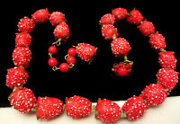 "Rare Vintage 16""x1/2"" Signed Miriam Haskell Red Glass Strawberry Bead Necklace"