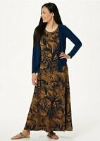 Attitudes by Renee Regular Printed Maxi Dress with Cardigan Navy Palm, XX-Small