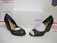 STYLE & CO - Womens CATHIEE Evening Wedge Pumps Peep Toe in BLACK - Size 8.5