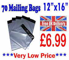 """70 Mailing Bags 12""""x16"""" Strong Grey Plastic Postage Postal Poly CHEAP!!! LOT1002"""