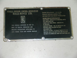 EMISSION CONTROL & TUNE UP DATA PLATE, ROLLS-ROYCE SILVER SHADOW, BENTLEY T