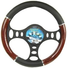 Custom Accessories 35710 Black Steering Wheel Cover with Woodgrain Design and Ch
