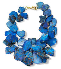 Blue Jasper Chunky Necklace Stone Statement Jewelry USA Seller Gold or Silver
